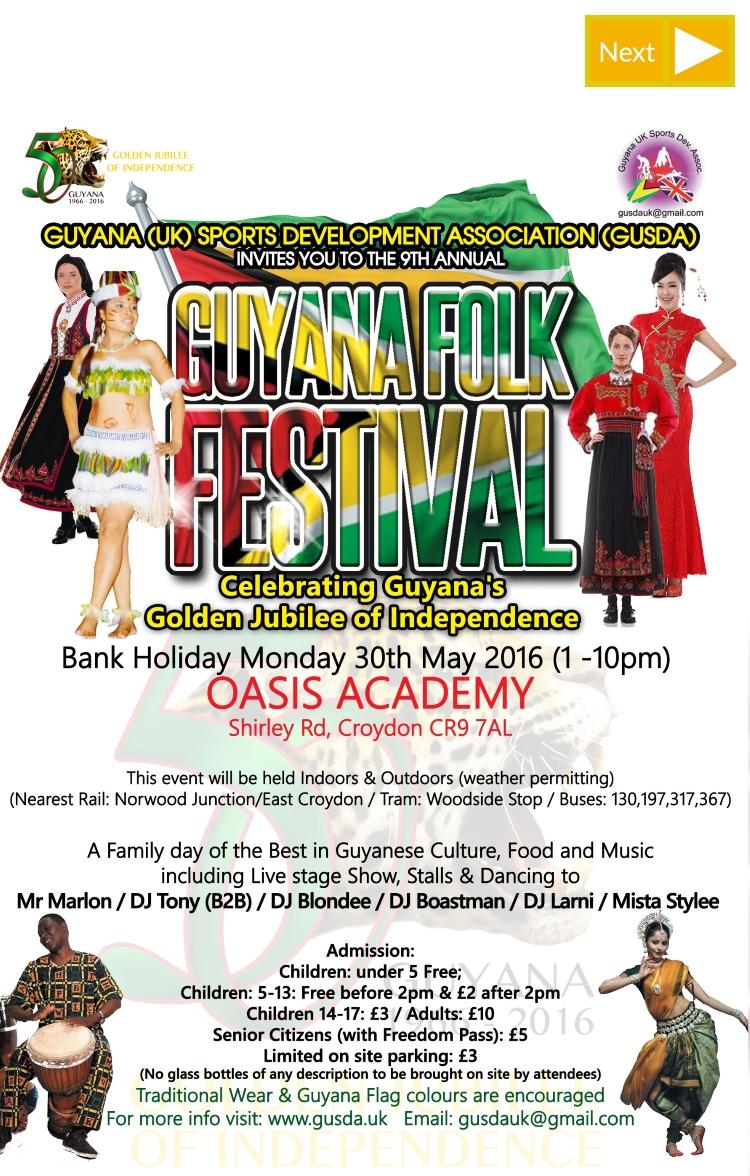 Guyana Folk Festival Oasis Academy 30th May 2016